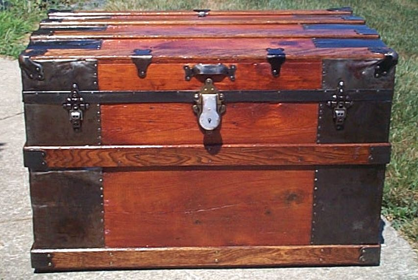 restored all wood roll top wall saver antique trunk for sale 574
