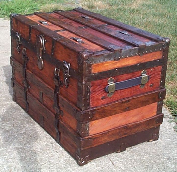 restored all wood flat top antique trunk for sale 575