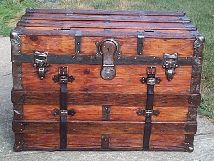 restored all wood flat antique steamer trunk for sale 575