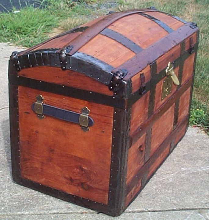 restored all wood humpback dome top antique trunk for sale 576