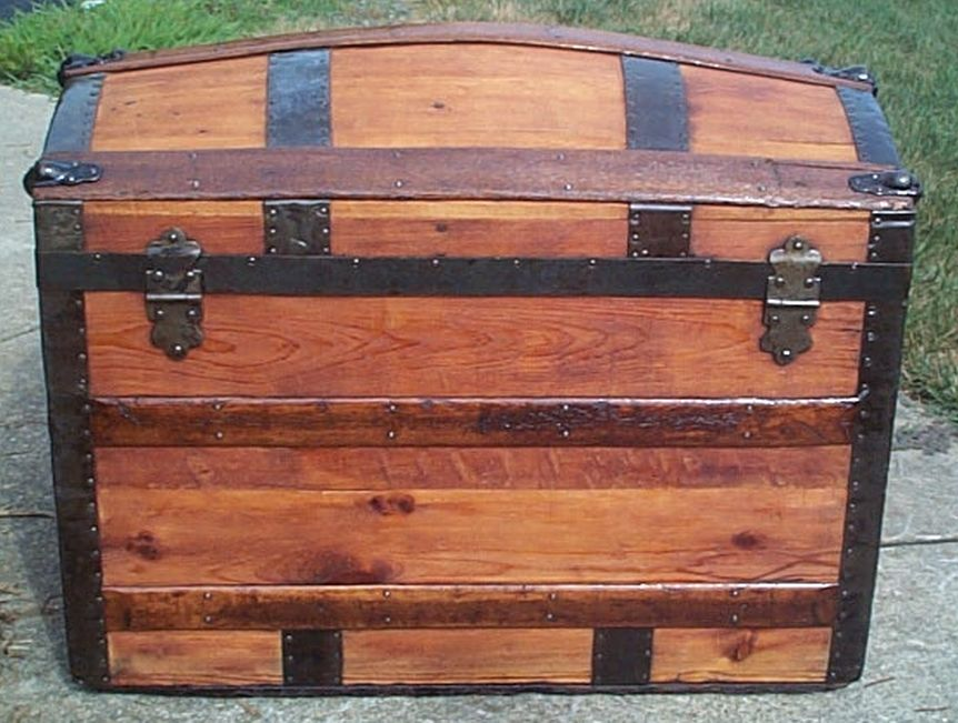 restored all wood flat top antique trunk for sale 576