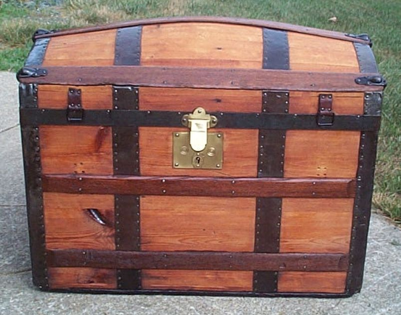 restored all wood dome top or humpback antique steamer trunk for sale 576