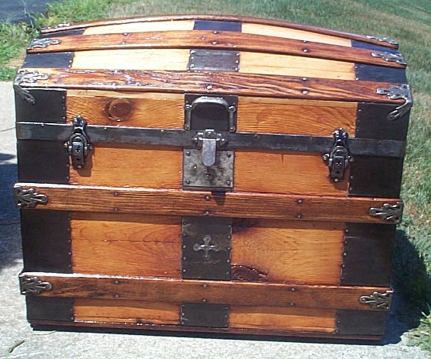 restored all wood dome top or humpback antique steamer trunk for sale 577