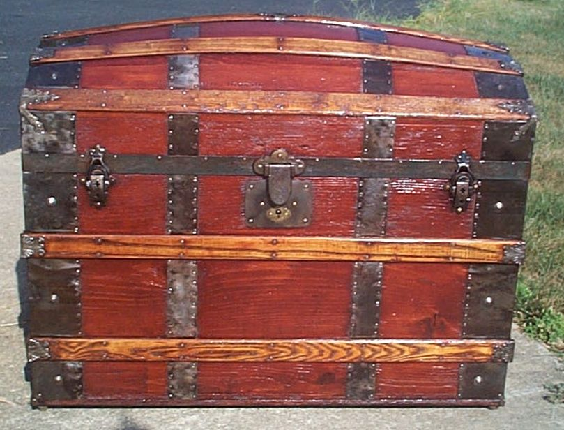 restored all wood dome top or humpback antique trunk for sale 578
