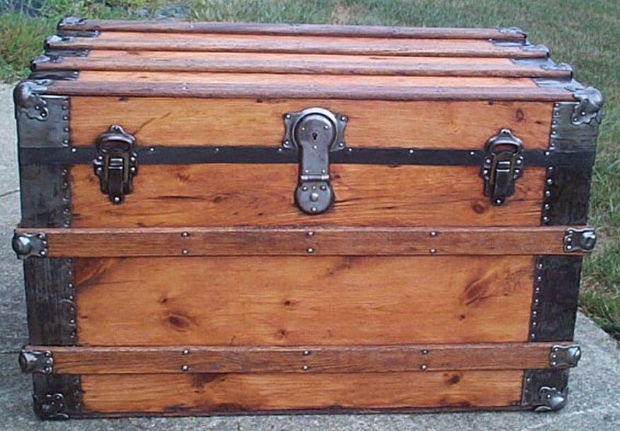 restored all wood flat top antique trunk for sale 580