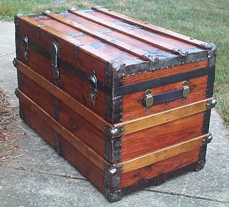restored all wood flat top antique trunk for sale 581