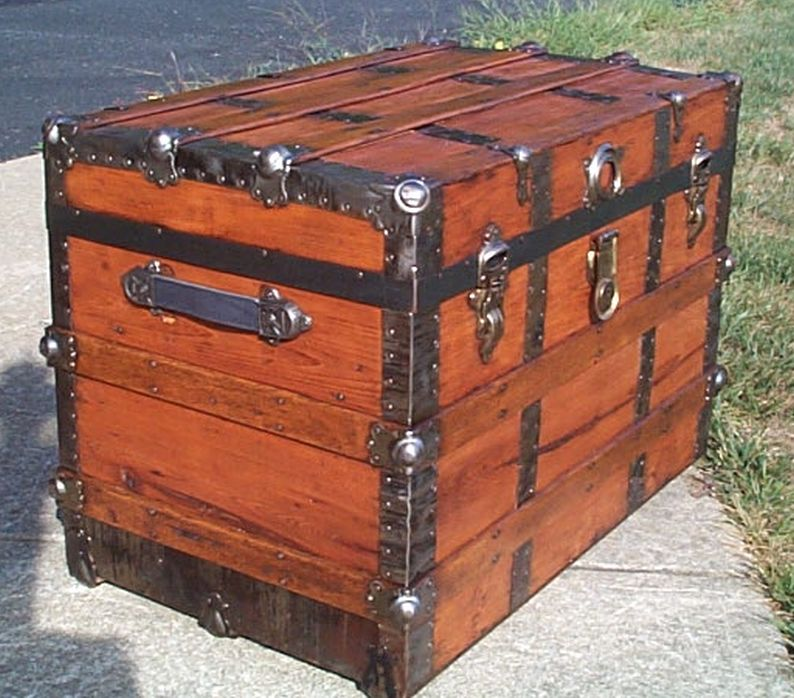 ... Antique Trunk Used as USAF US Air Force Retirement Shadow Box and Storage Chest & Army Navy Retirement Shadow Box ideas or Military Shadow box Idea as ...