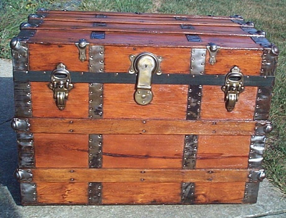 restored all wood flat top antique trunk for sale 583