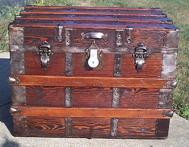 restored all wood flat top antique trunk for sale 584