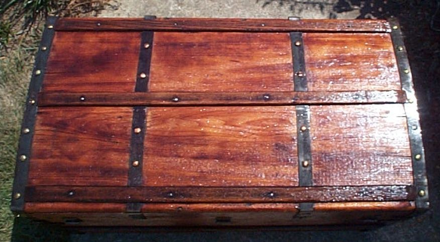 restored all wood roll top antique trunk for sale 586