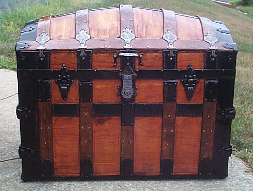 restored all wood dome top antique trunk for sale 587
