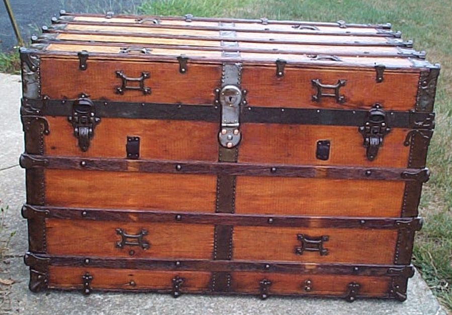 restored all wood flat top antique trunk for sale 588