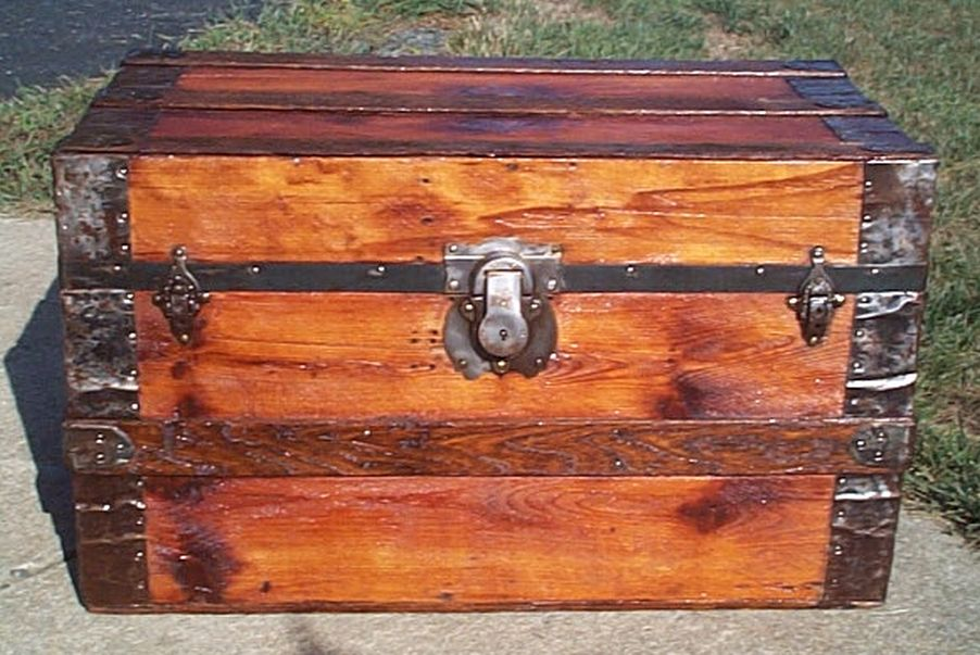 restored all wood flat top antique trunk for sale 589