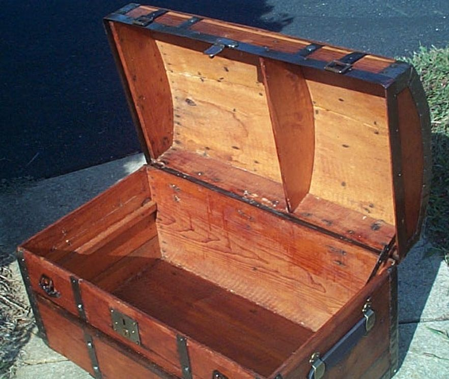 restored all wood civil war dome top antique trunk for sale 590