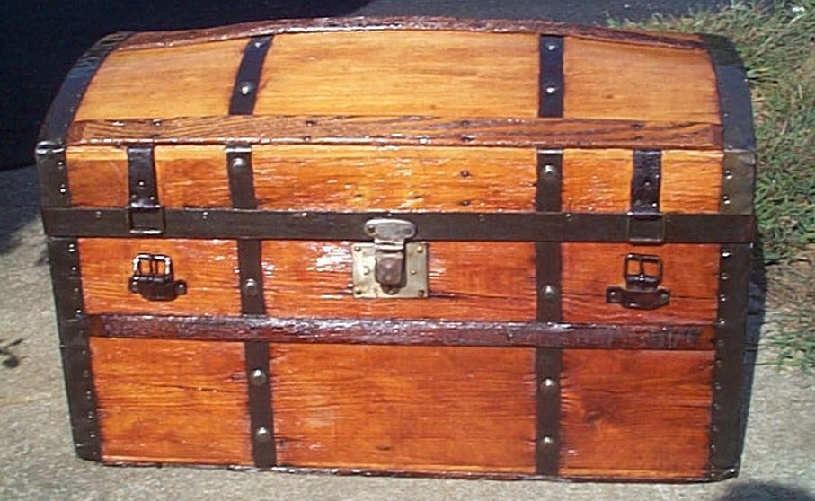 restored all wood flat top antique trunk for sale 590