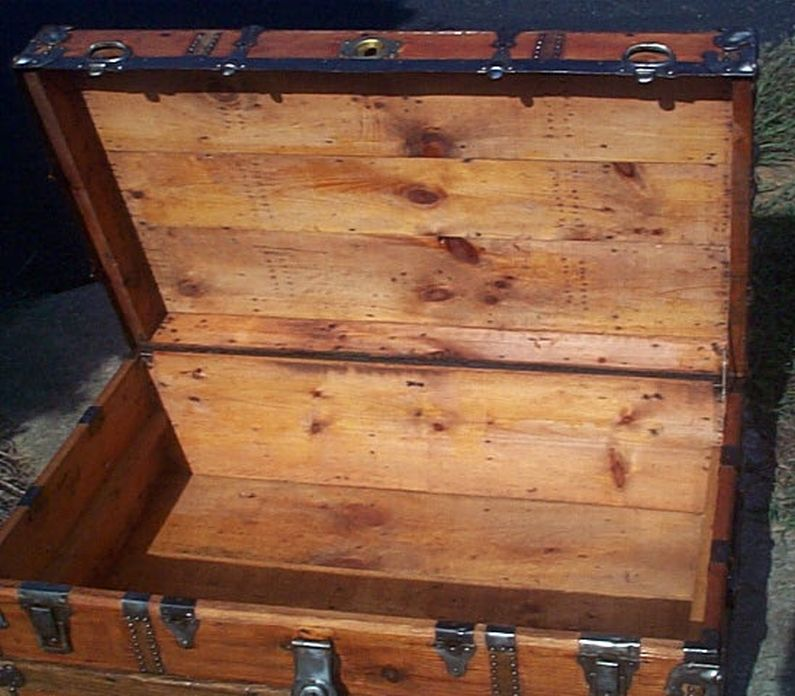 restored all wood low profile flat top antique trunk for sale 591