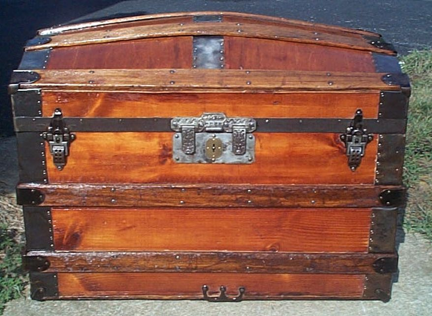 restored all wood dome top antique trunk for sale 592