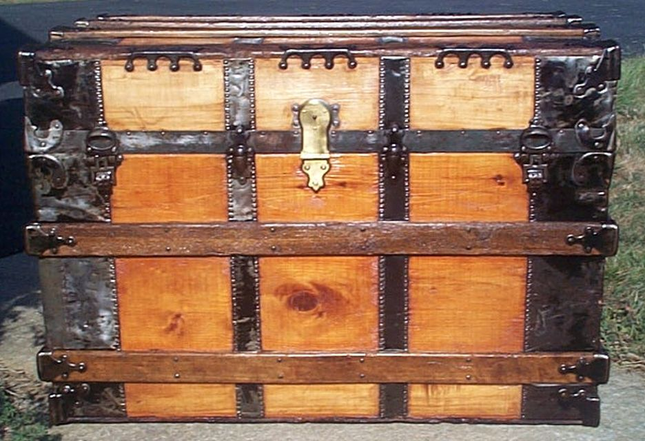 restored all wood flat top antique trunk for sale 593