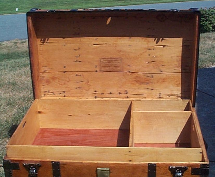 restored all wood roll top antique trunk for sale 594