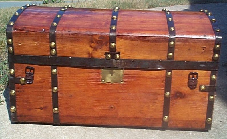 restored all wood civil war  jenny lind flat top antique trunk for sale 596