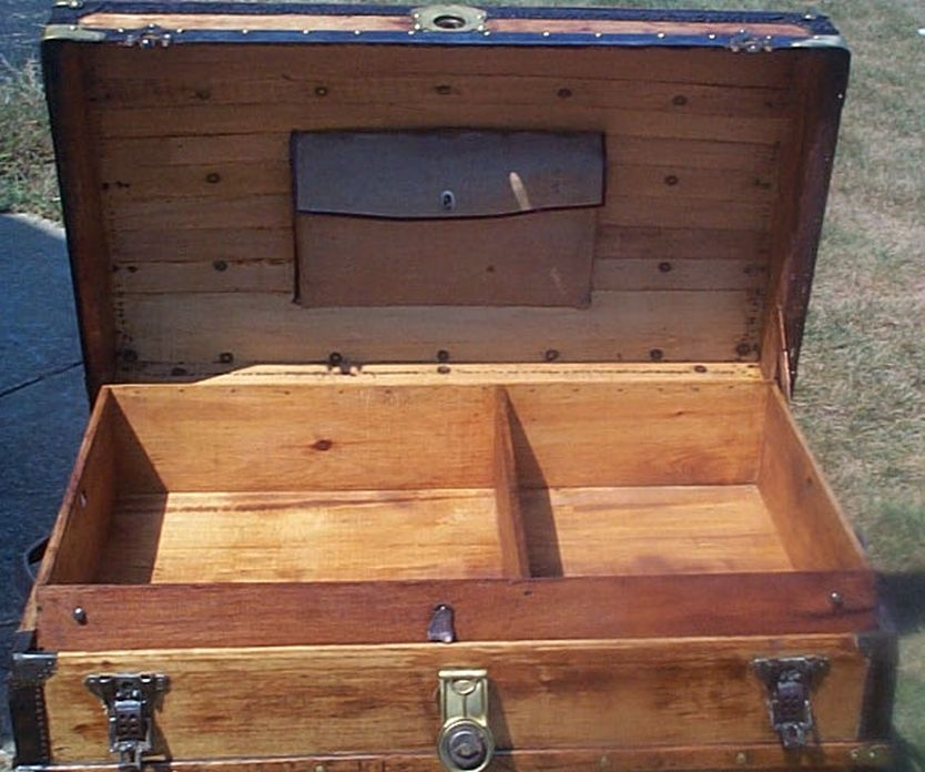 restored all wood dome top or humpback antique trunk for sale 597