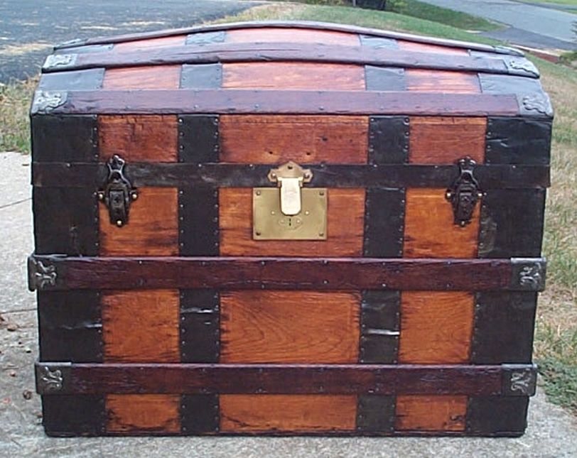 restored all wood dome top or humpback antique trunk for sale 598