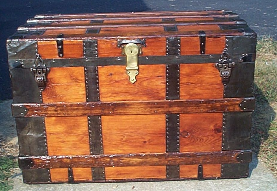 restored all wood flat top victorian antique trunk for sale 599