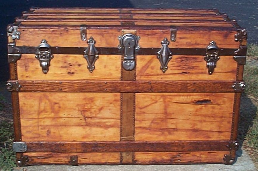 restored all wood flat top victorian antique trunk for sale 600