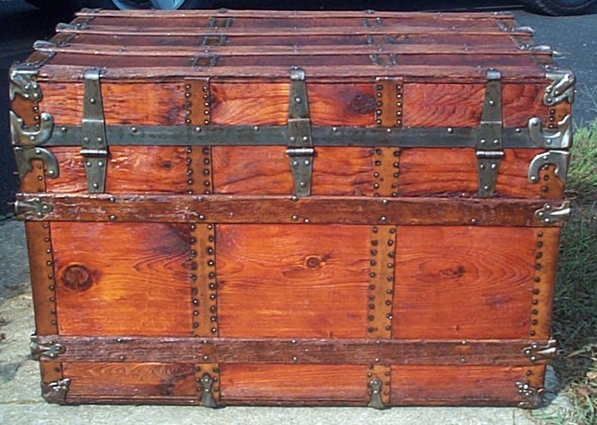 restored all wood flat top antique trunk for sale 601