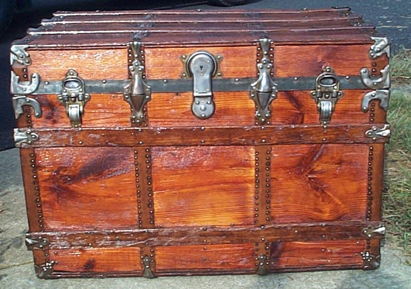 restored all wood flat top victorian antique trunk for sale 601