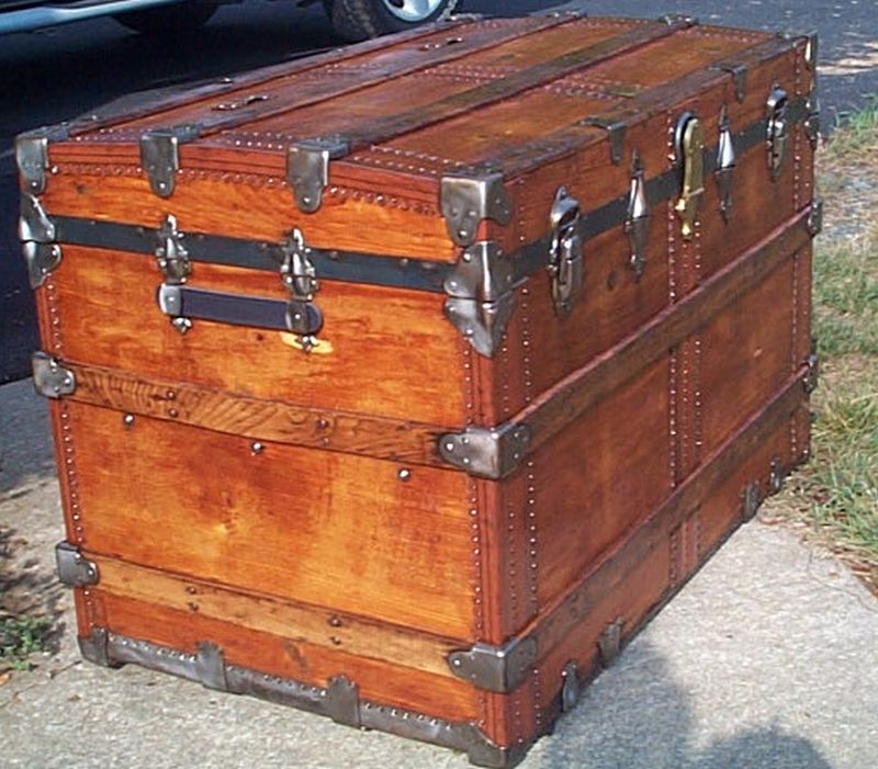 restored all wood roll top antique trunk for sale 602