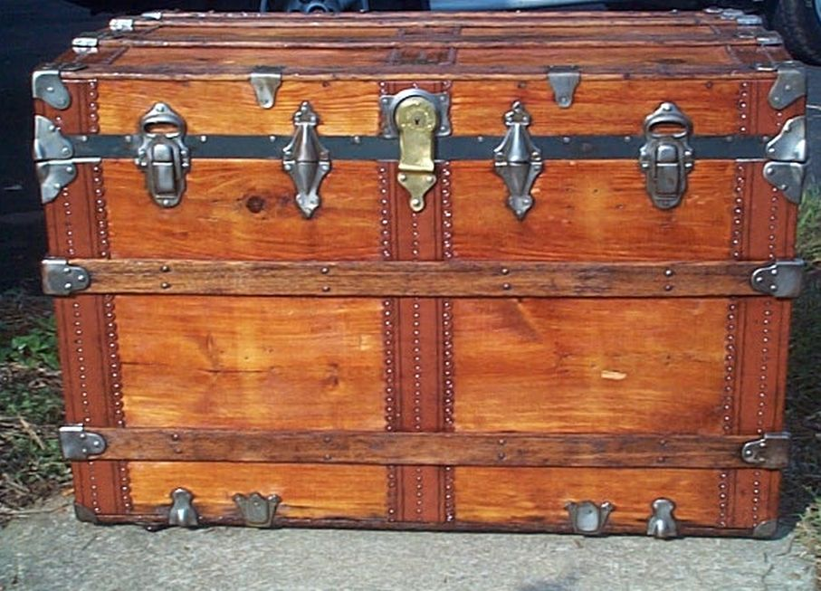 restored all wood roll top victorian antique trunk for sale 602