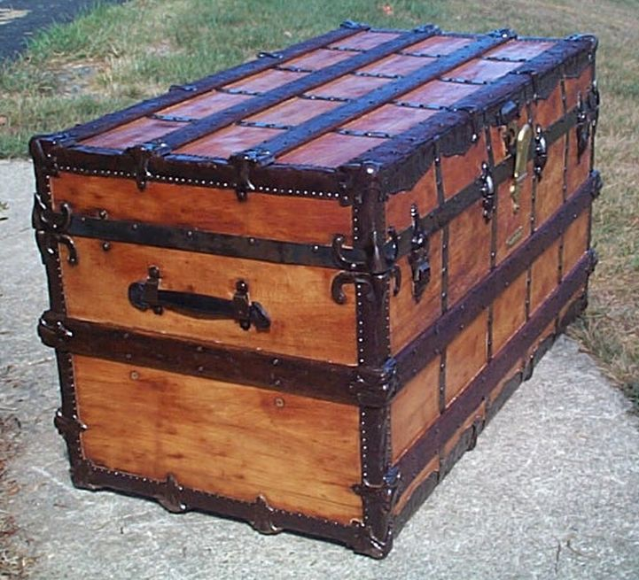 restored all wood flat top antique steamer trunk for sale 603