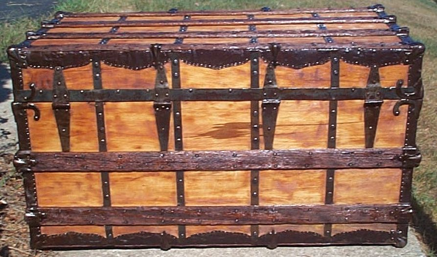 restored all flat top antique steamer trunk for sale 603