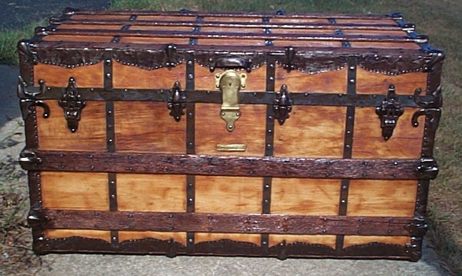 restored all wood flat top victorian antique steamer trunk for sale 603
