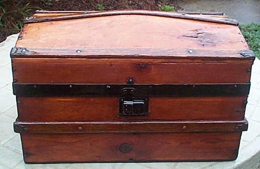 restored all wood desktop size small dome top victorian antique steamer trunk for sale 604