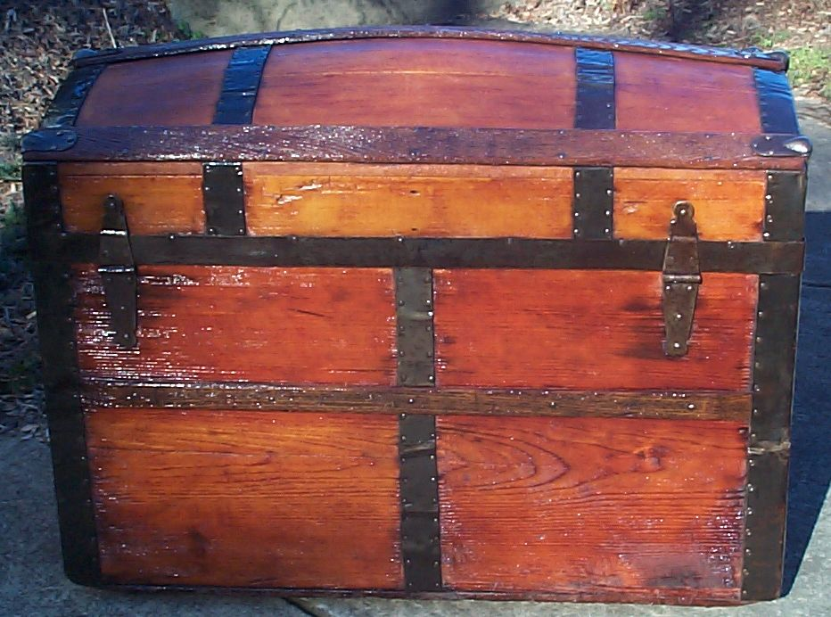 restored all wood dome top antique trunk for sale 607