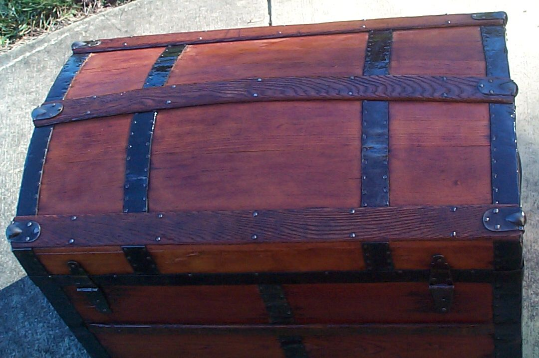 restored all wood dome top antique steamer trunk for sale 607
