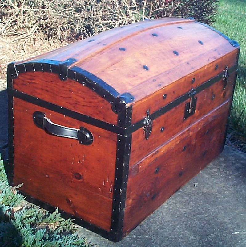 restored all wood civil war dome top antique trunk for sale 608