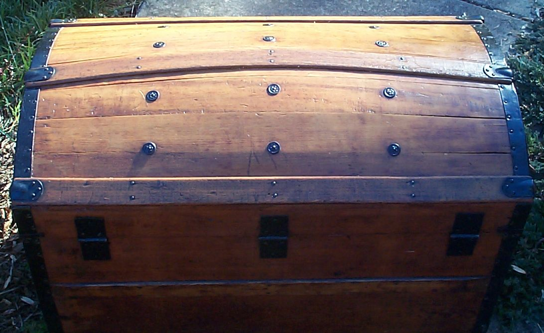 restored all wood civil war dome top antique steamer trunk for sale 608