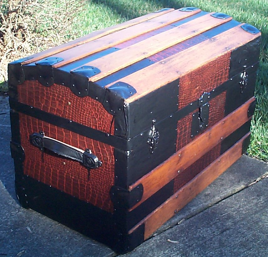 restored faux alligator roll dome top antique trunk for sale 609