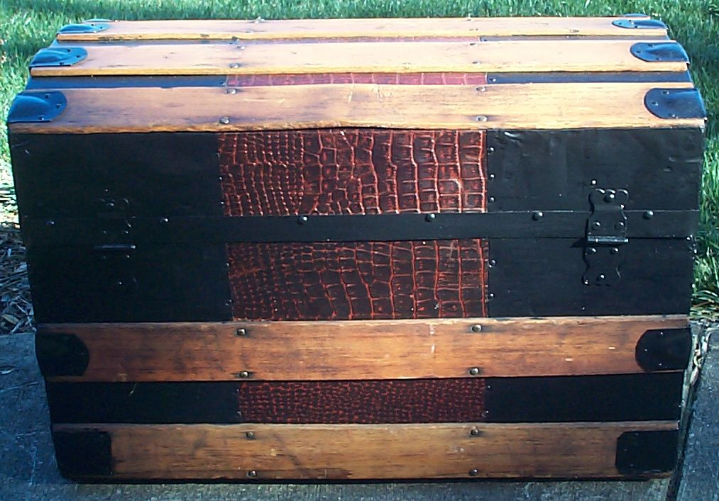 restored faux alligator roll top antique trunk for sale 609
