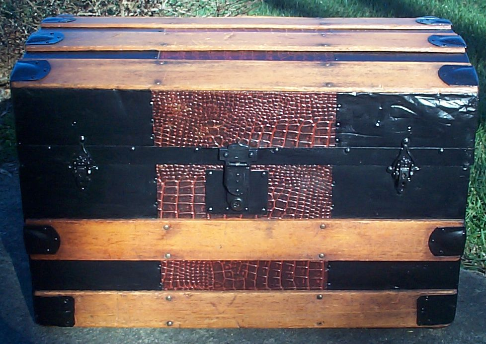 restored all wood roll top victorian antique steamer trunk for sale 609