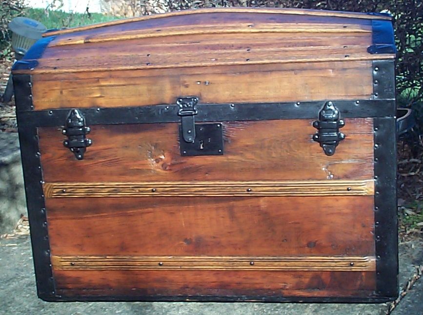 restored all wood dome top victorian antique trunk for sale 610