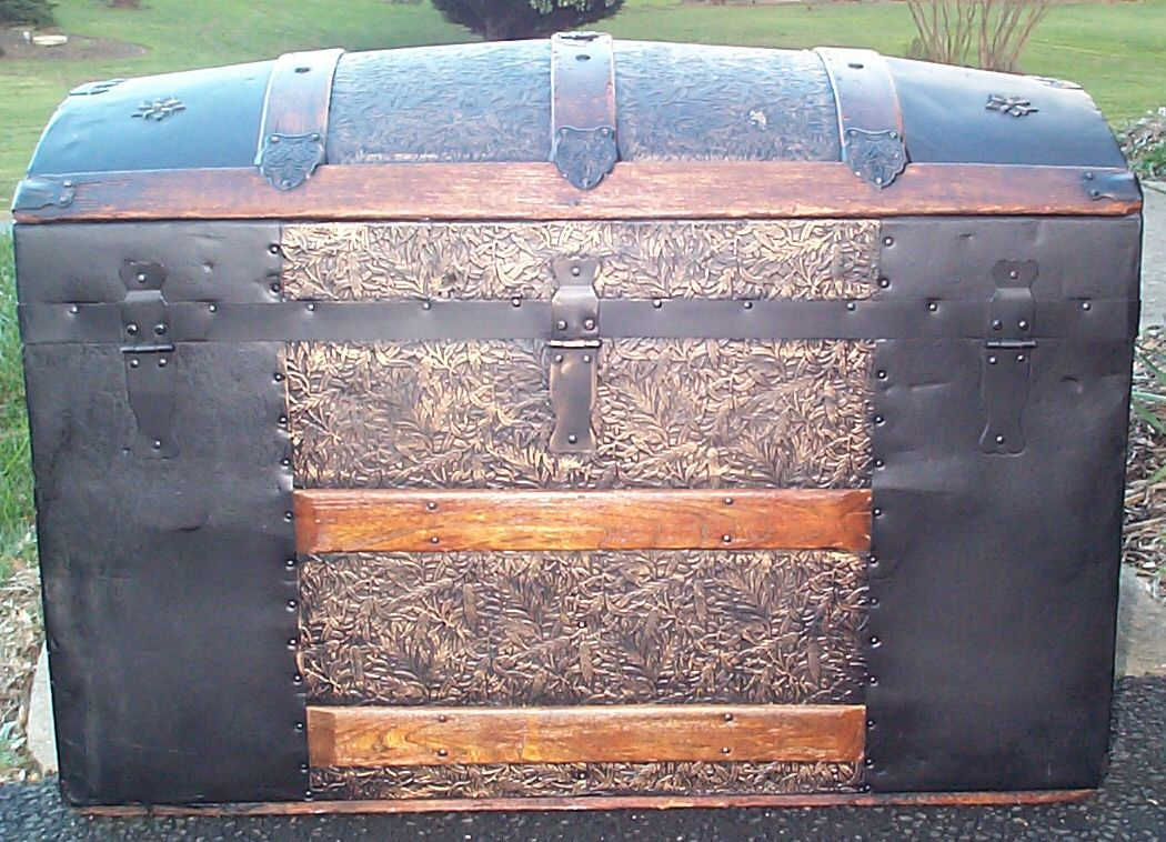 restored dome top antique trunk for sale 610