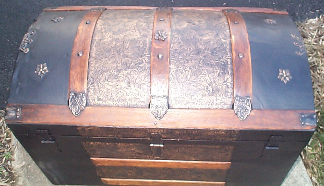 restored dome top antique trunk for sale 611