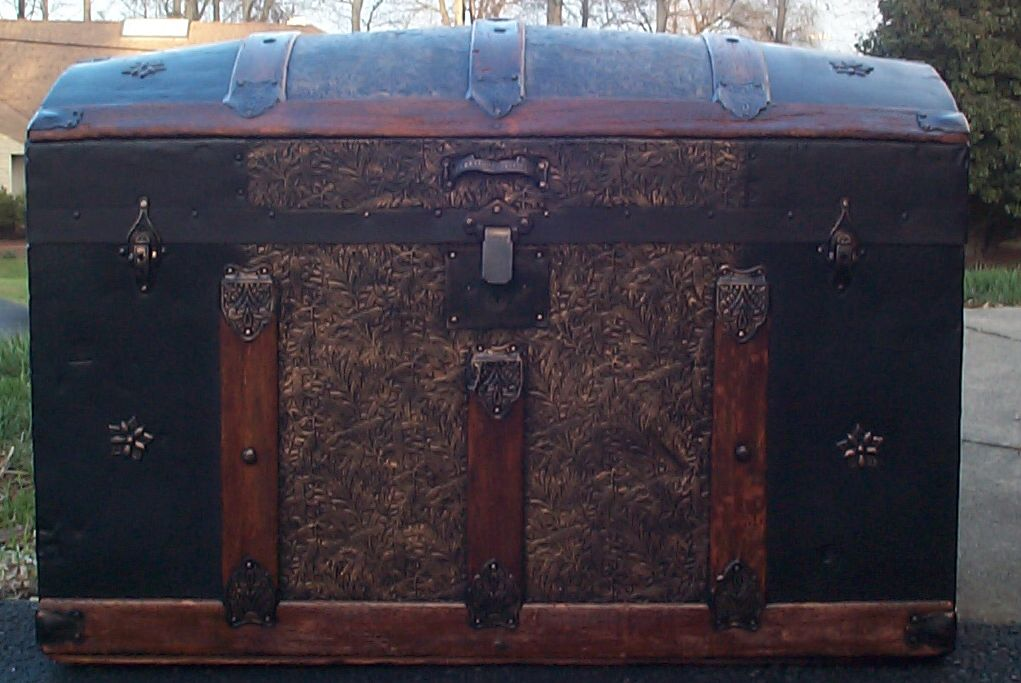 restored all wood dome top victorian antique trunk for sale 611