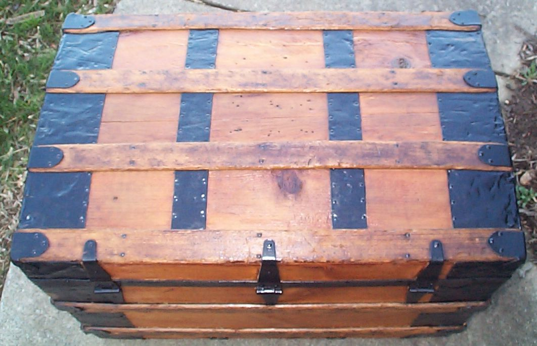 restored roll top antique trunk for sale 612