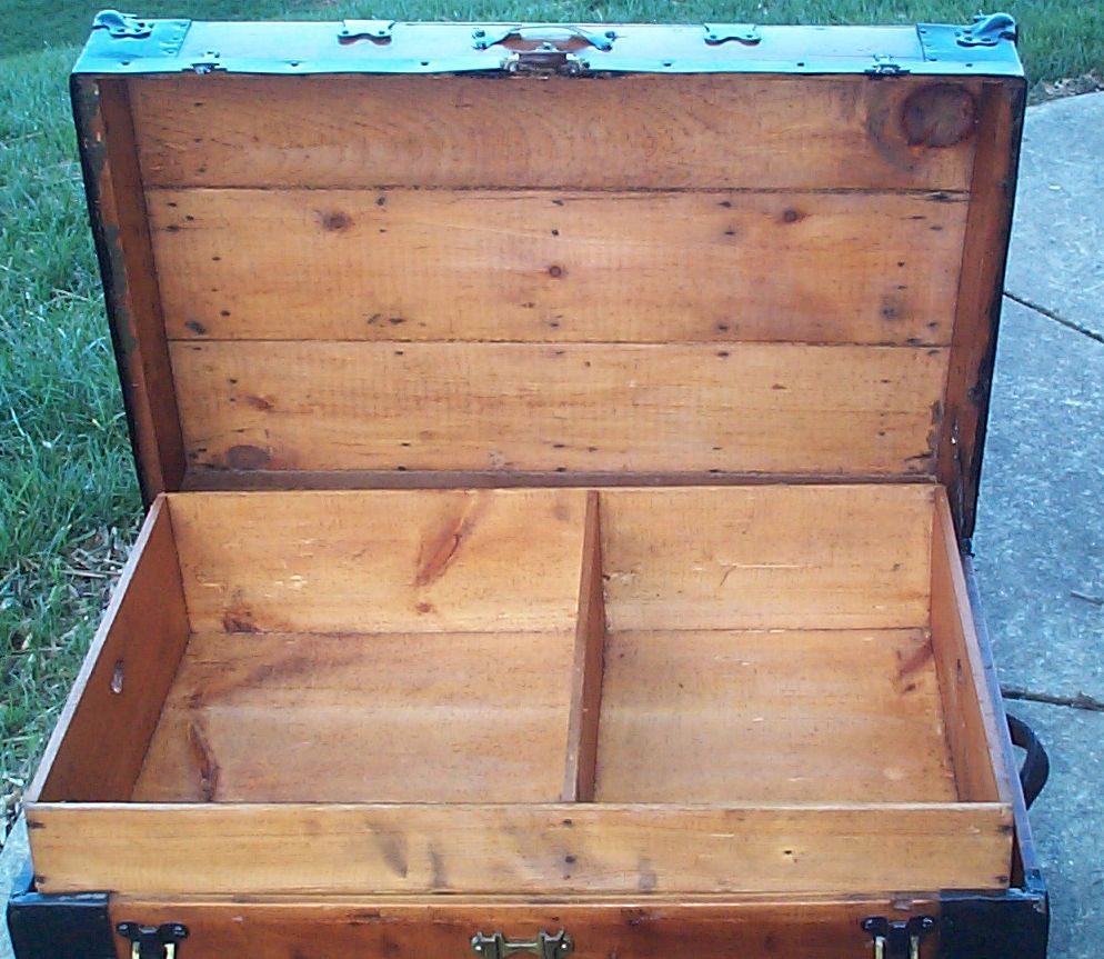 restored flat top antique trunk for sale 613