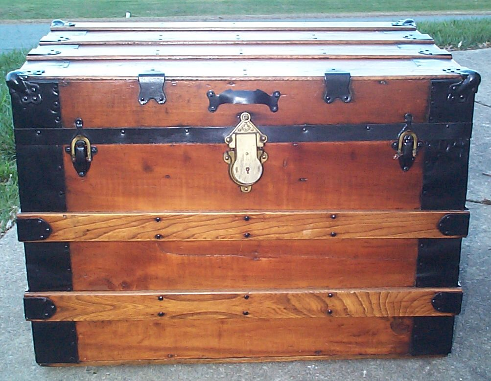 restored all wood flat top victorian antique trunk for sale 613